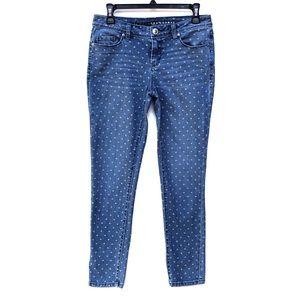 Lauren Conrad heart print skinny ankle jeans